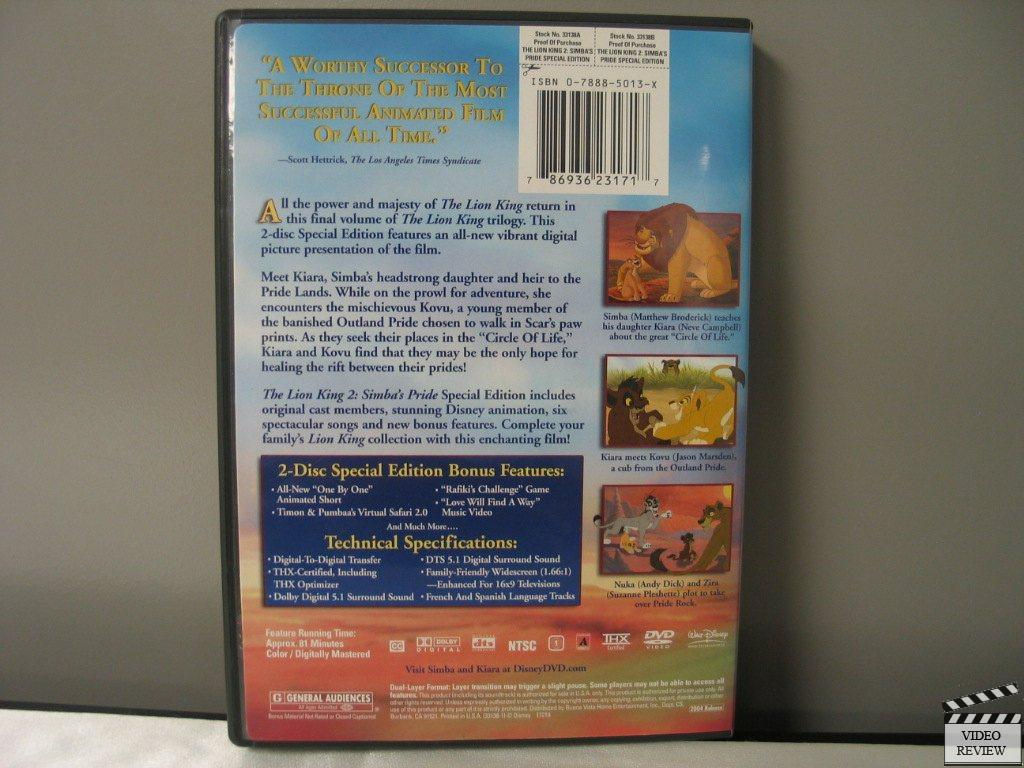 The Lion King 2 Simbas Pride Special Edition Dvd 2004 2 Disc