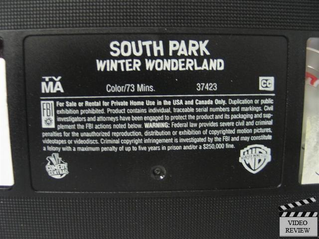 South park winter wonderland vhs 2001 3 episodes for Vhs label template